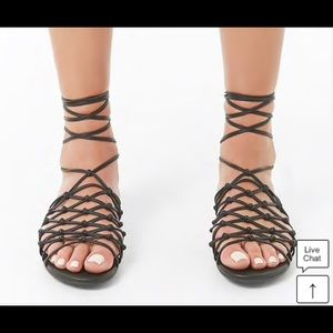 Black Strappy knotted F21 laceup sandals🌸